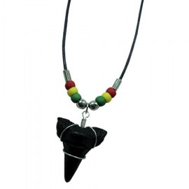Rasta Beads Shark Tooth Pendant Necklace